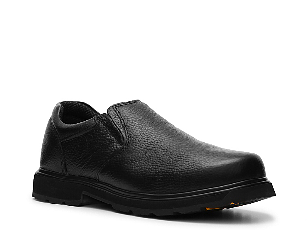 <p> The perfect shoe for the man who wants all day comfort and performance. The Winder slip-on from Dr. Scholl\'s features a leather upper and an oil and slip-resistant sole to keep you safe at work.</p>