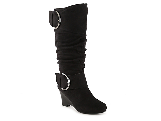 <p>Spice up your fall style in these Journee Collection wedge boots. With slouchy styling and oversized buckle accents, the Irene tall boots will give you an effortlessly chic look.</p><p><a href=\