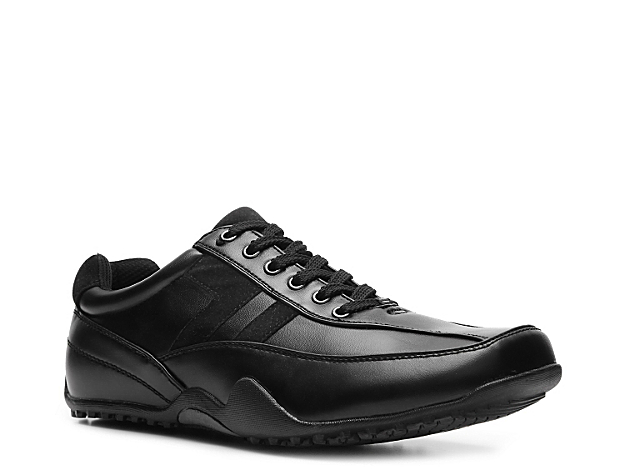<p> Sporty styling and various safety features are the perfect reason to choose the Deer Stags Donald oxford. This lace-up features an oil and slip-resistant, non-marking sole as well as a cushioned footbed perfect for on the job comfort.</p>