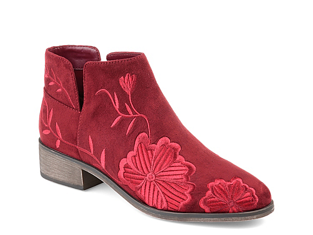 Feel cute and feminine in these floral ankle boots from Journee Collection. The Tabitha is decorated with romantic embroidery and boosted by a slightly raised block heel.