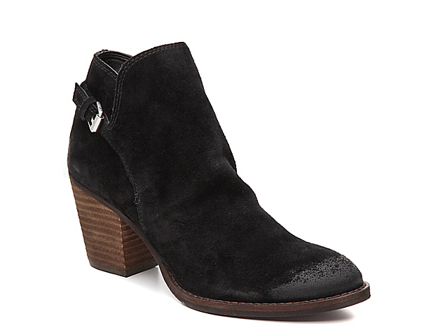 Slouchy and casual, the Miriam bootie from Sam Edelman is styled with suede for an overall softness. Burnishing at the toe, midsole stitching, and a harness buckle bring a bit of western inspo to these ankle boots.