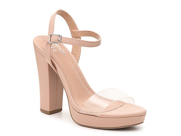 Playing up the barely-there trend, the Nellie two-piece sandals from Mix No. 6 are fitted with lucite and a slender ankle strap to create the illusion of extra-long legs. A walkable platform boosts the look.