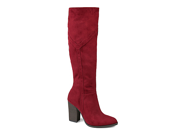 The Kyllie boot from Journee Collection flaunts classic appeal with its chunky block heel and almond shaped toe. Pair this knee high with a mini dress and a thick sweater to make heads turn.Click here for Boot Measuring Guide.
