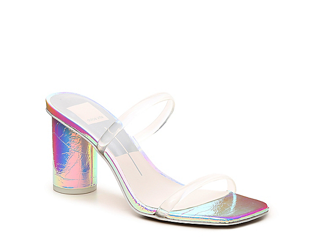You\\\'ll be feeling chic in any outfit with the \\\'90s-inspired Noles sandal from Dolce Vita. A square open toe complements the clear lucite upper and cylindrical block heel for eye-catching style.