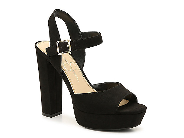 The Priella platform sandal from Jessica Simpson adds statement style to dresses or jeans. A towering woven heel will have you strutting with confidence.