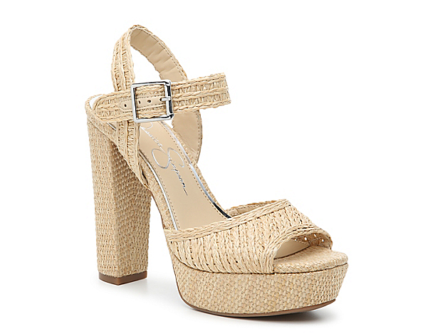 The Priella platform sandal from Jessica Simpson adds statement style to dresses or jeans. Woven raffia looks boho and beachy while the towering heel will have you strutting with confidence.