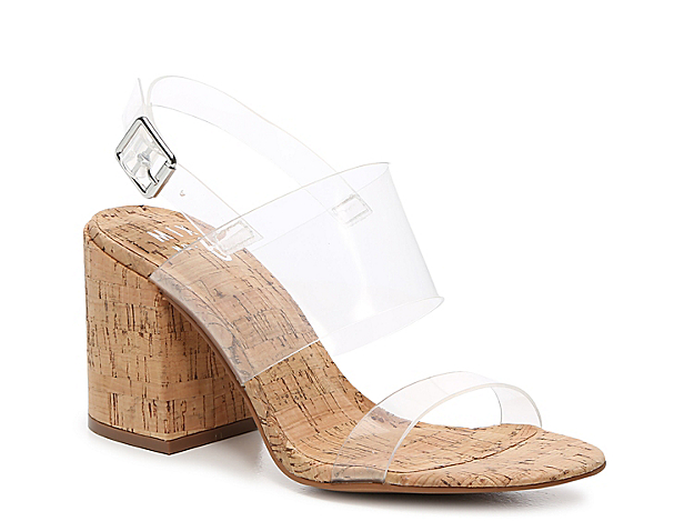 Be ready for sunny weather with the Adalyn wedge sandal from Mix No. 6. This silhouette is fashioned with an elevated cork heel and lucite straps for a trendsetting finishing touch!