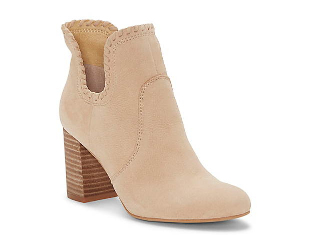 Western whipstitching trims the topline of the Sivya ankle boots from Lucky Brand. A stacked heel, simple toe, and lightly texture leather bring natural appeal to these boosted booties. Click here for Boot Measuring Guide.