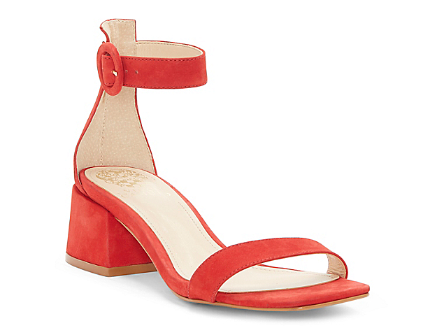 The Vallina sandal from Vince Camuto is classic enough for any warm weather look. This two-piece silhouette is updated with a chunky block heel and squared off toe for a modern finish.