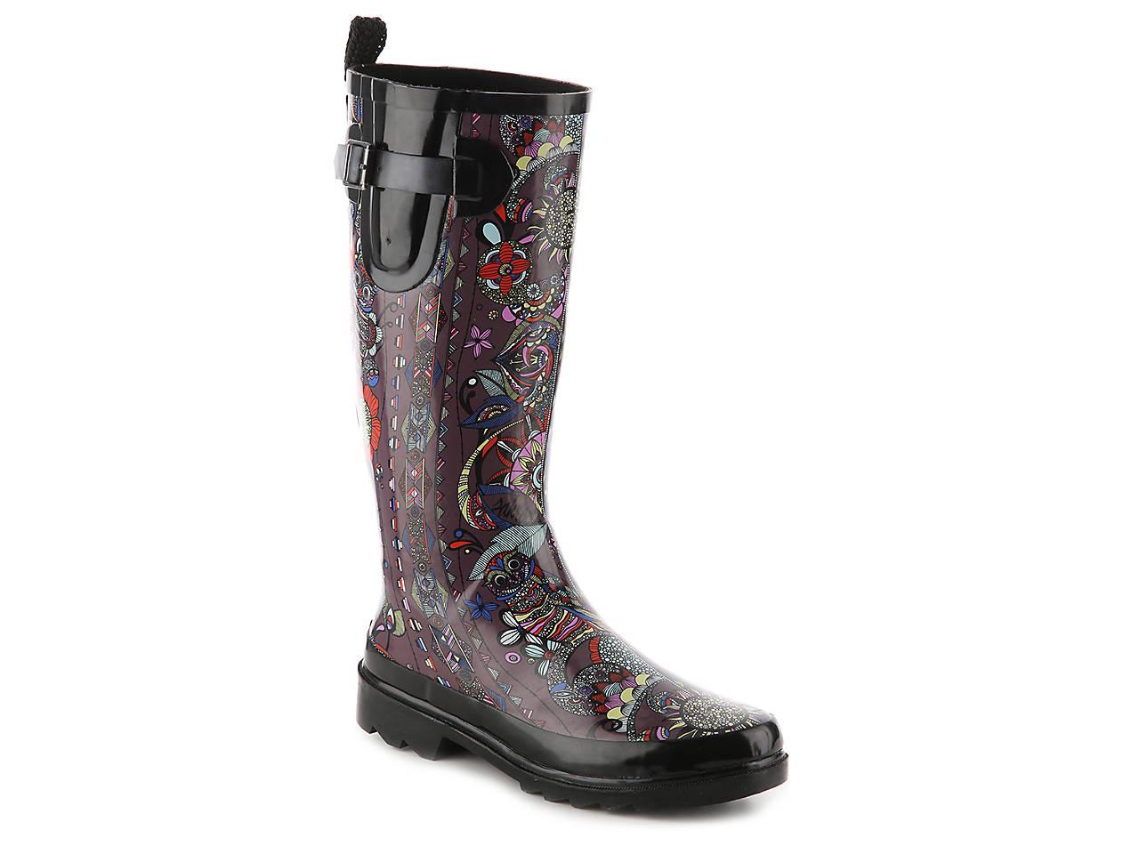 Womens Boots chooka black boot bohemian night rain nf6d13w2