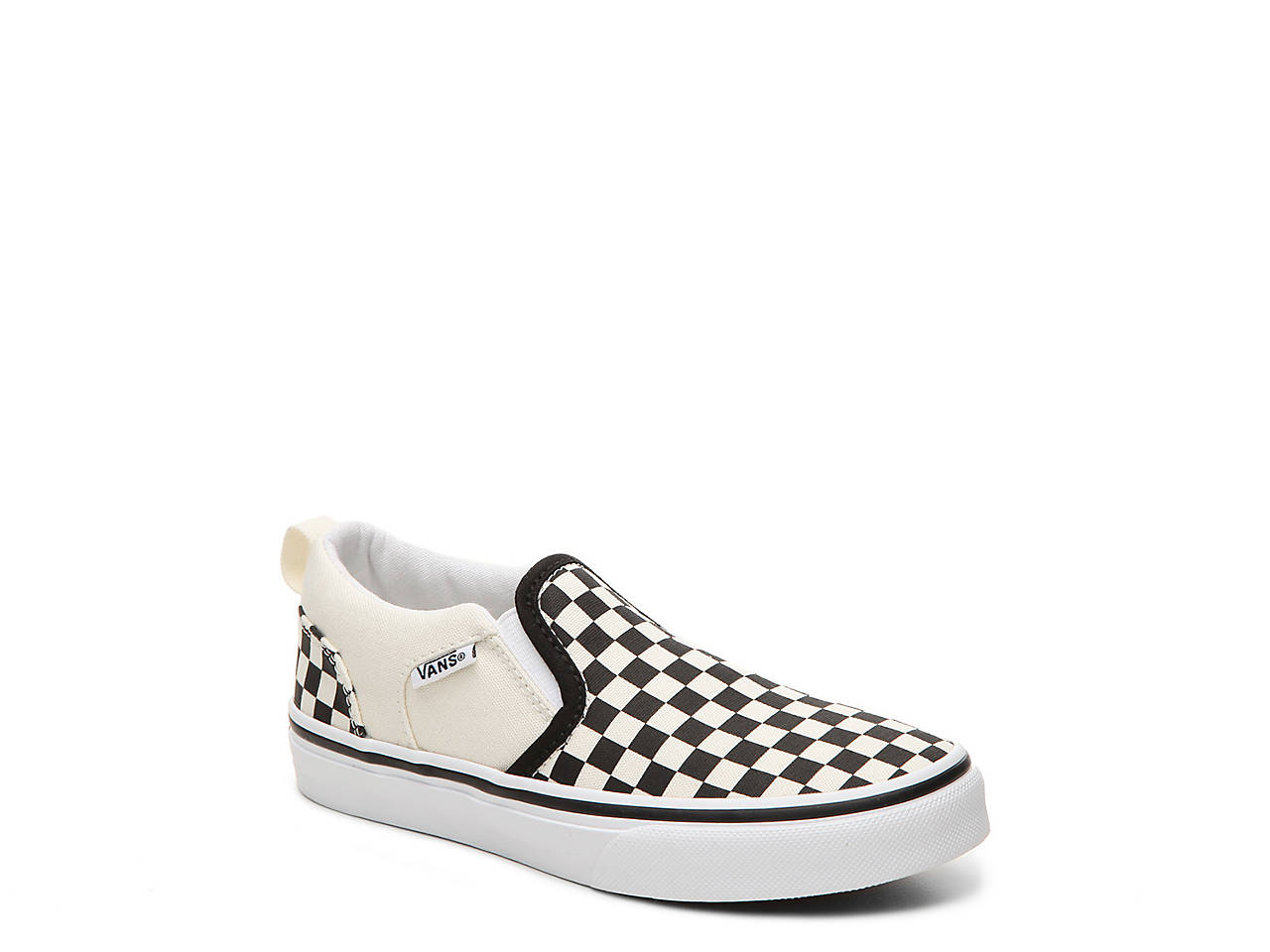 ffcc62bf09 Vans Asher Checkers Toddler   Youth Slip-On Sneaker Kids Shoes