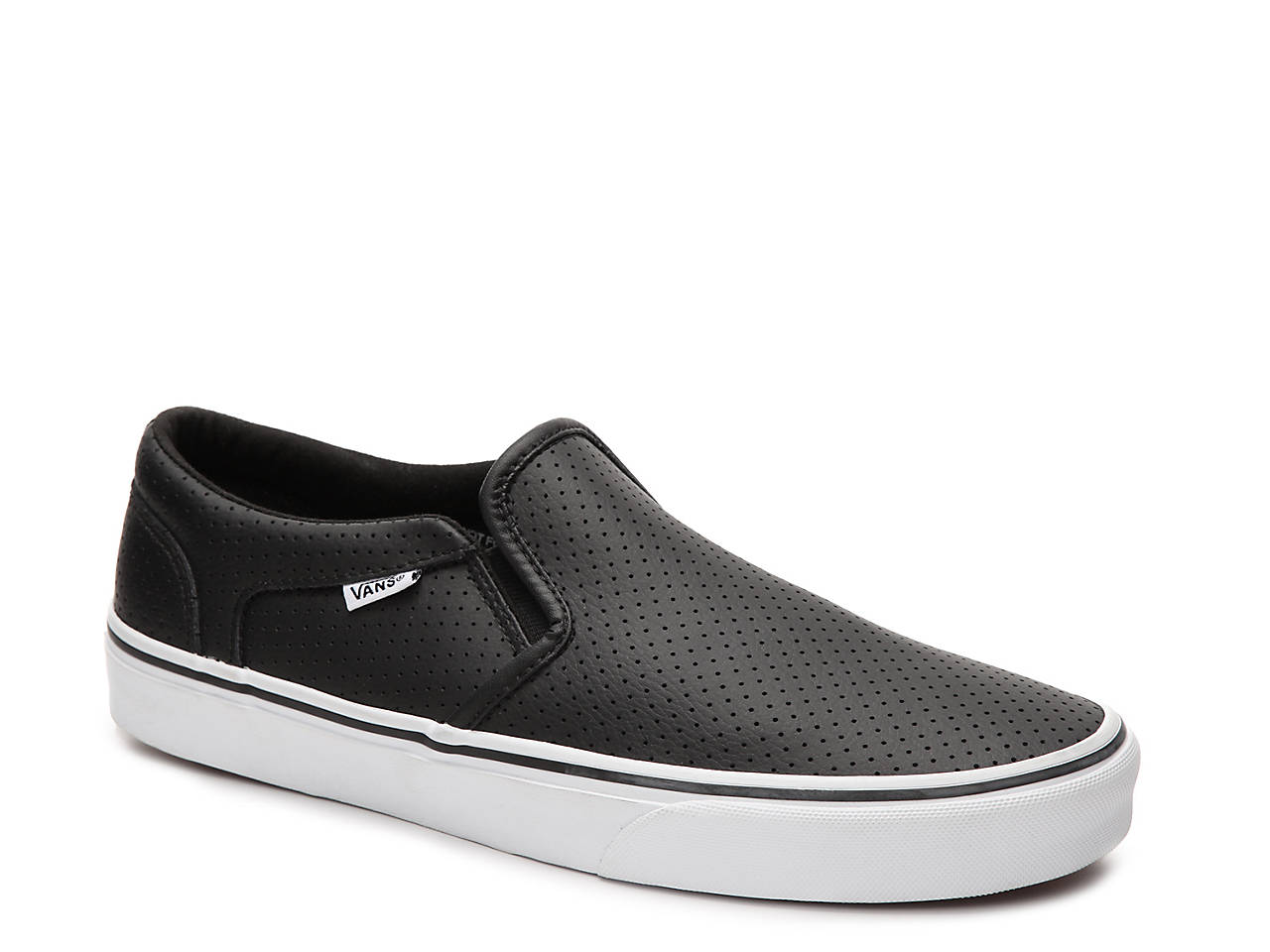 vans black and white leather slip on