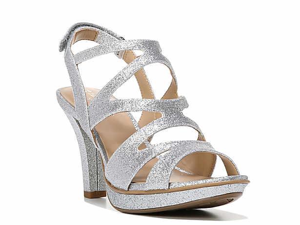 Women's Silver Mid Heel: 2¼-3
