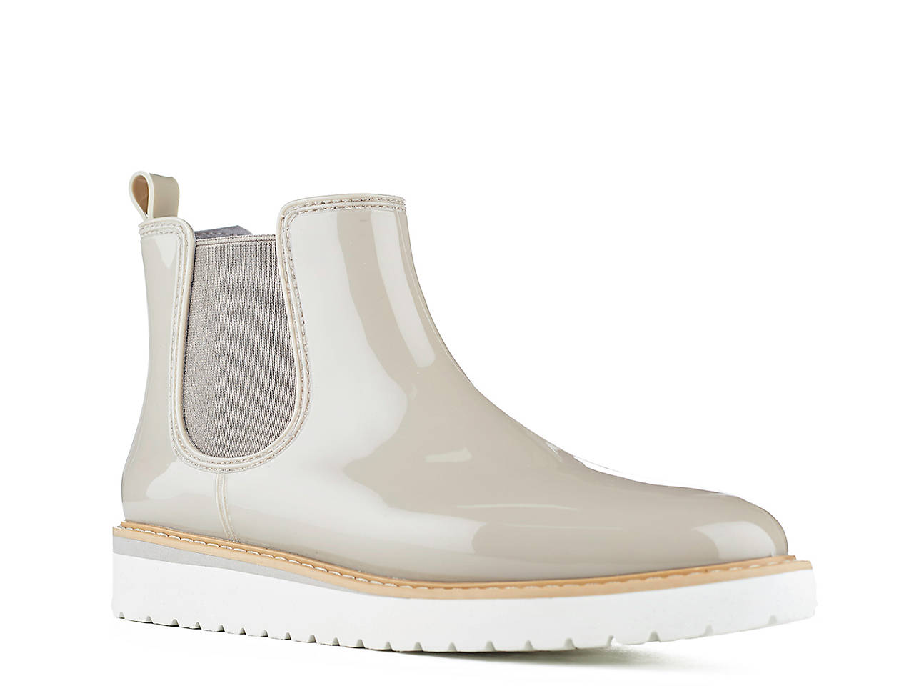 Grey shiny ankle rain boots