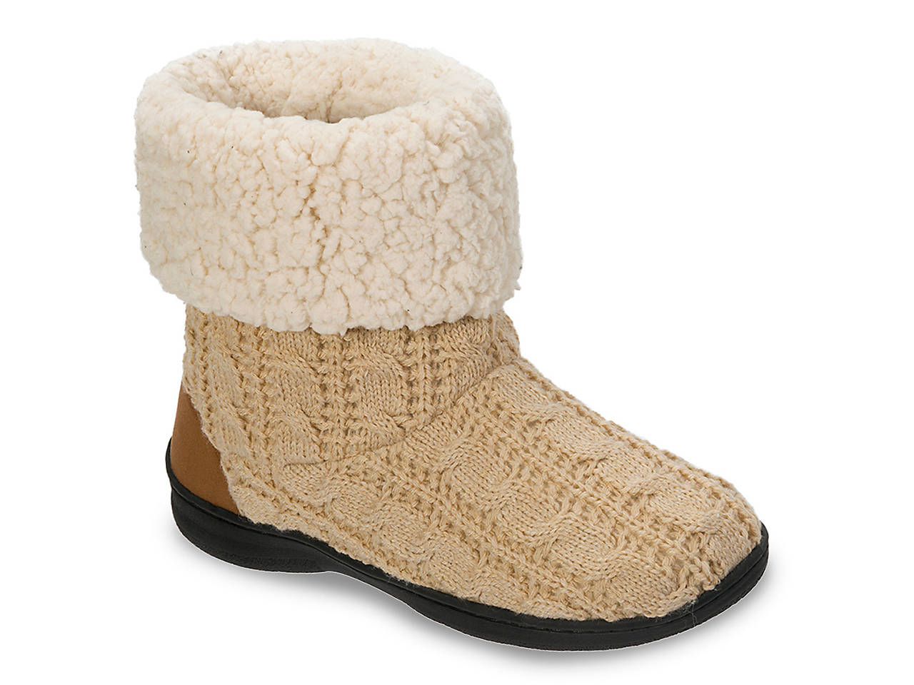 Dearfoams Cable Knit Bootie Slipper Womens Shoes Dsw