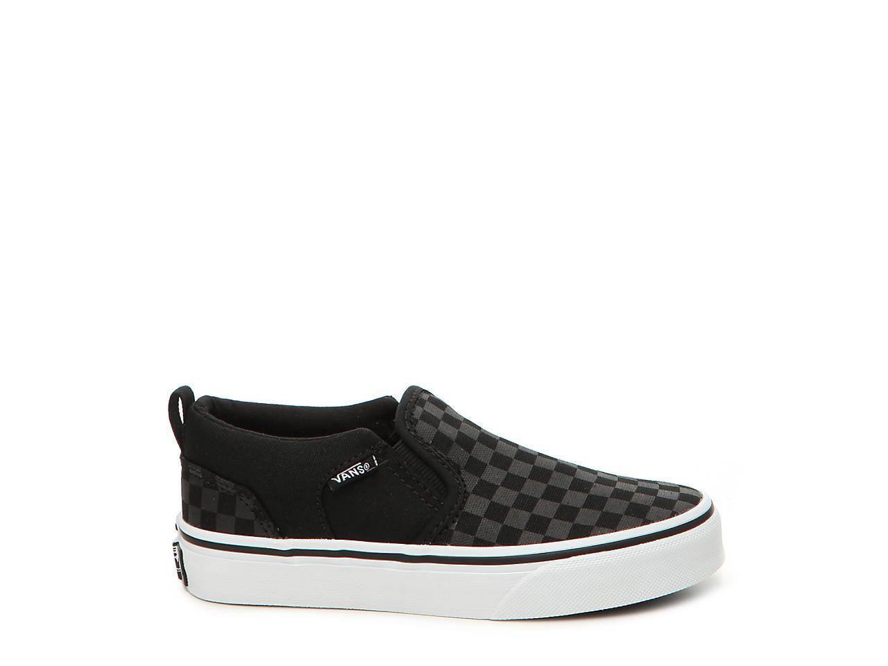 e2e3971bfc50cb Vans Asher Checker Toddler   Youth Slip-On Sneaker Kids Shoes