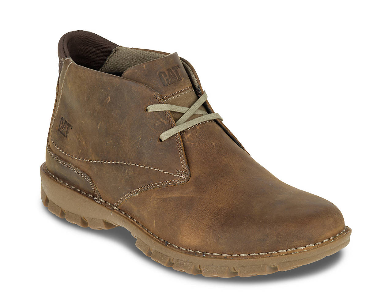 Caterpillar Mitch Chukka Boot(Men's) -Dark Beige Leather For Cheap Price hqPV5