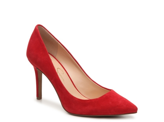 Red dress gold shoes mid