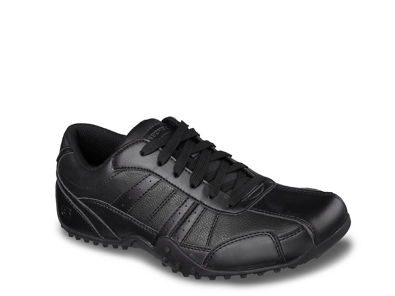 skechers mens black work shoes