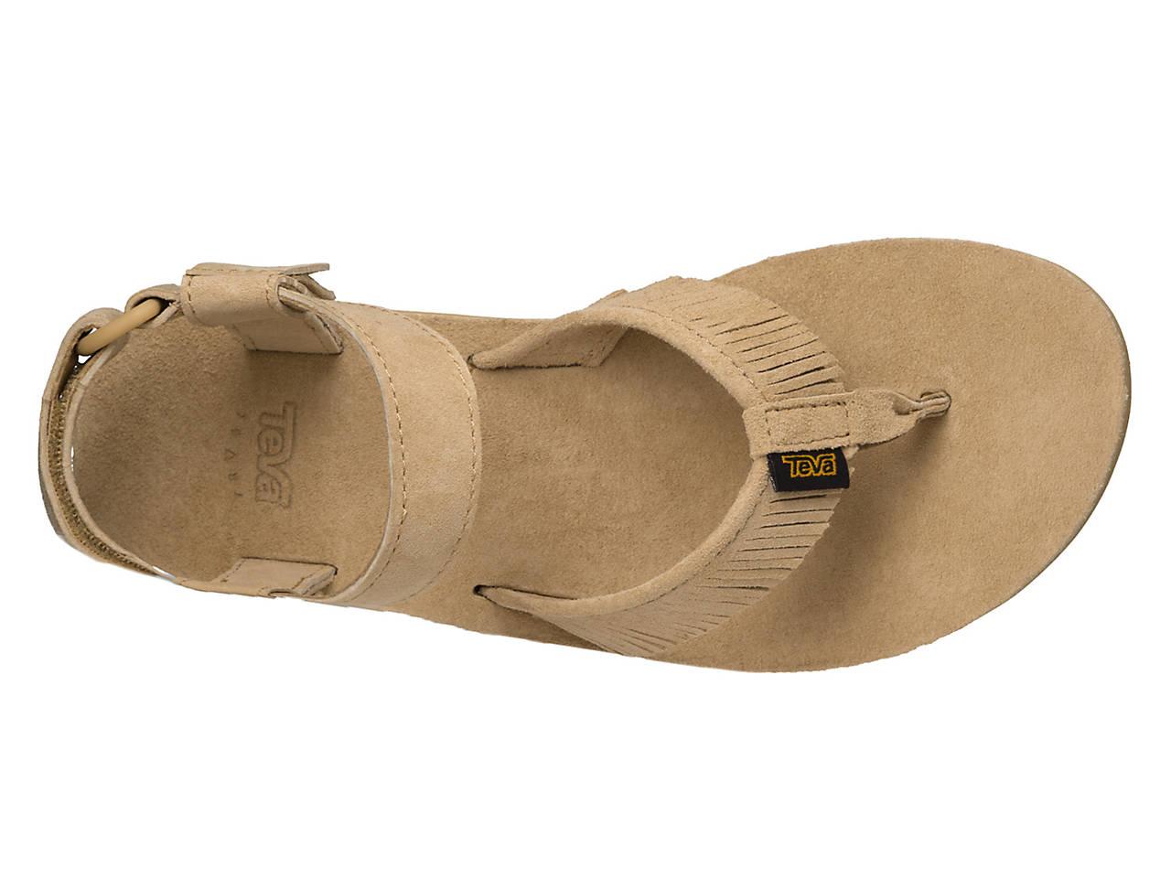 01cbe20a44d1 Teva Original Leather Fringe Flat Sandal Women s Shoes