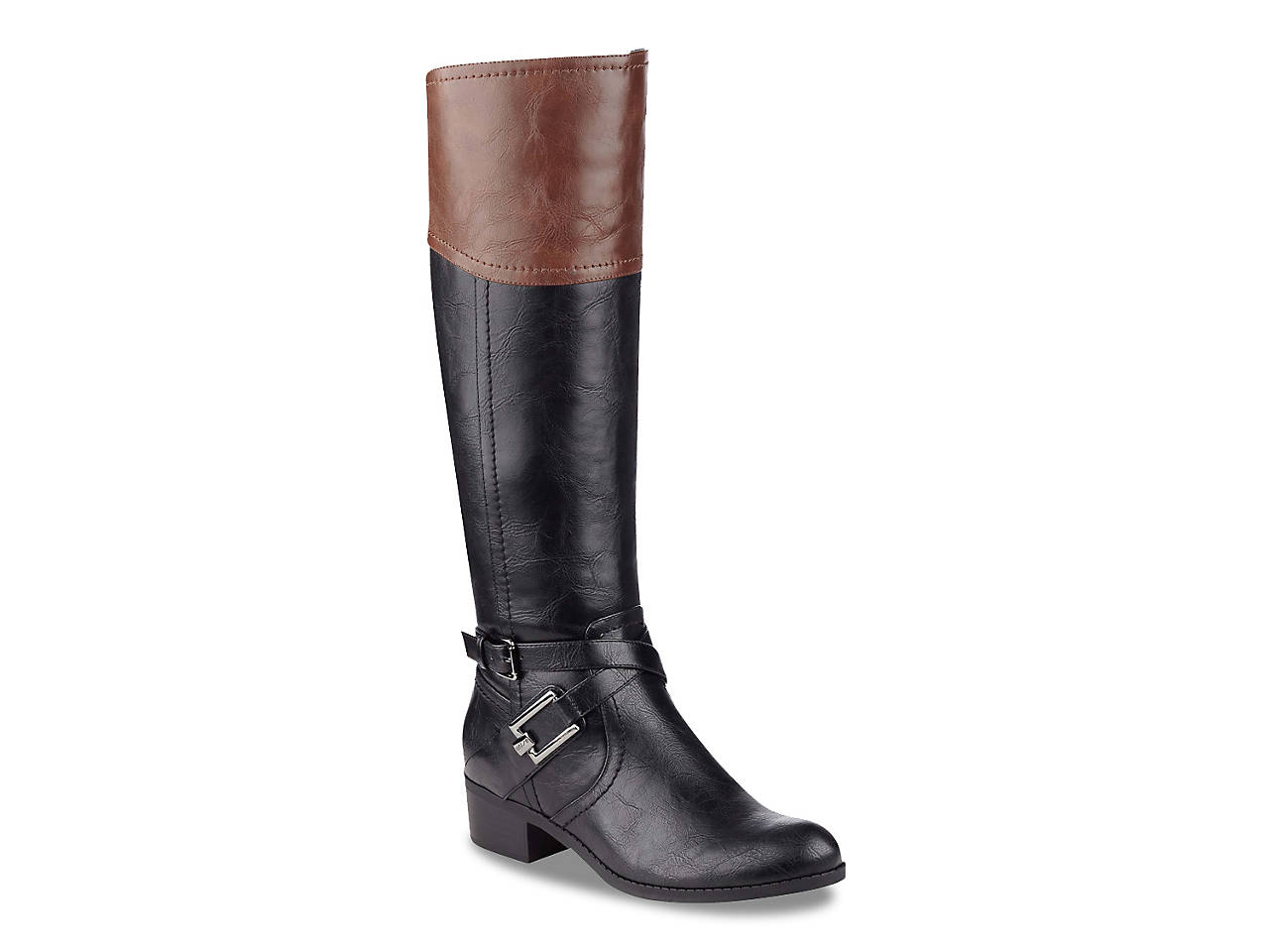 womens ladies long black rider boots brand new in box size 6 wide buckles next