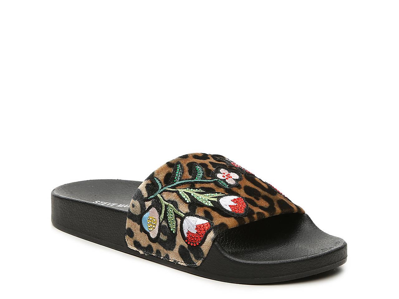 abd1c4e36ca Steve Madden Patches Velvet Slide Sandal Men s Shoes