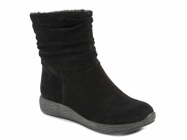 Women Winter Warm Pull On Shoes Wedges Heel Half Snow Boots