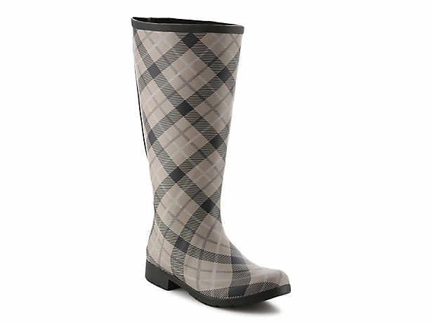 Flex Fit Plaid Wide Calf Rain Boot