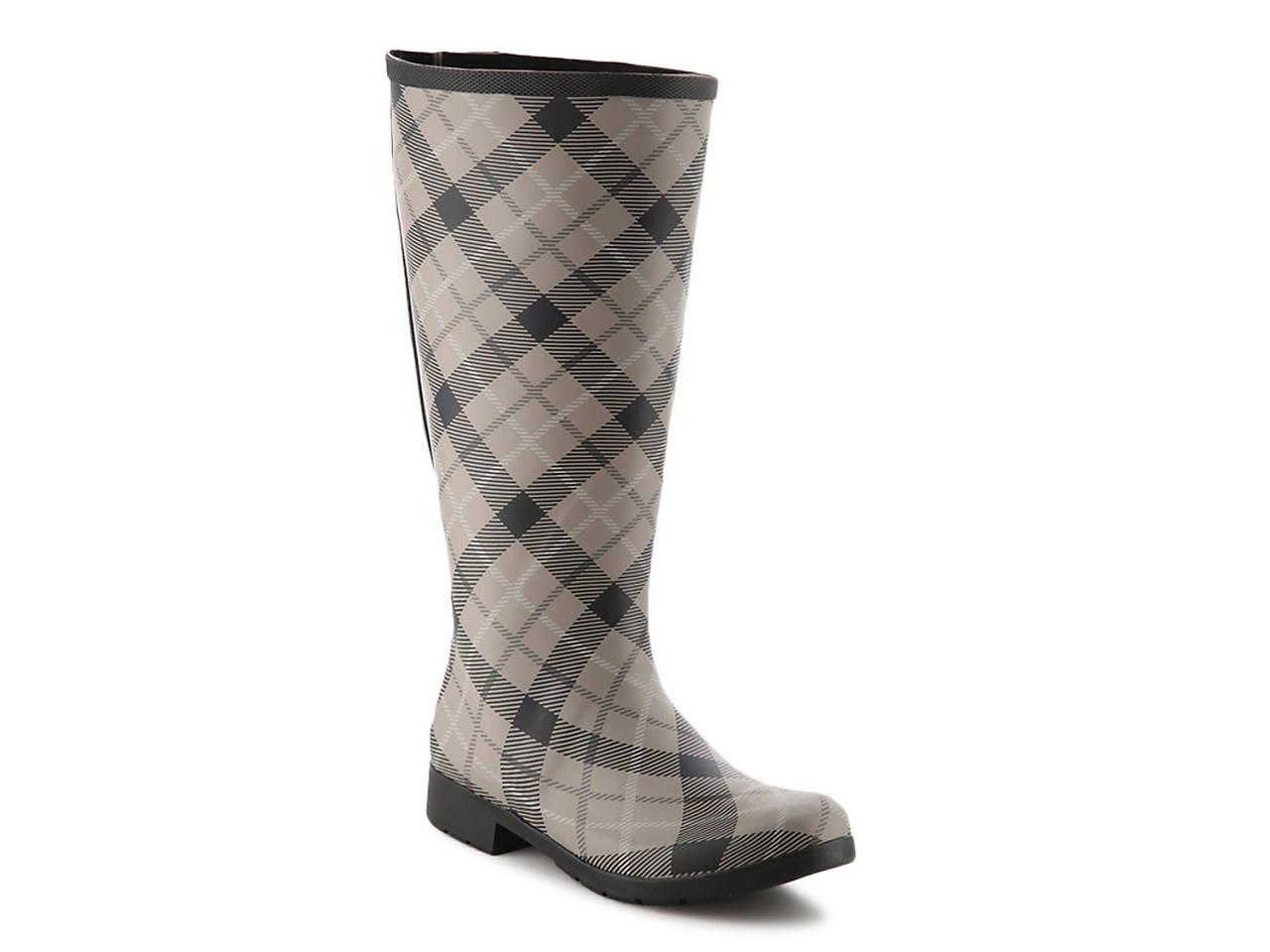 fb6e2e4e0748 Chooka Flex Fit Plaid Wide Calf Rain Boot Women s Shoes