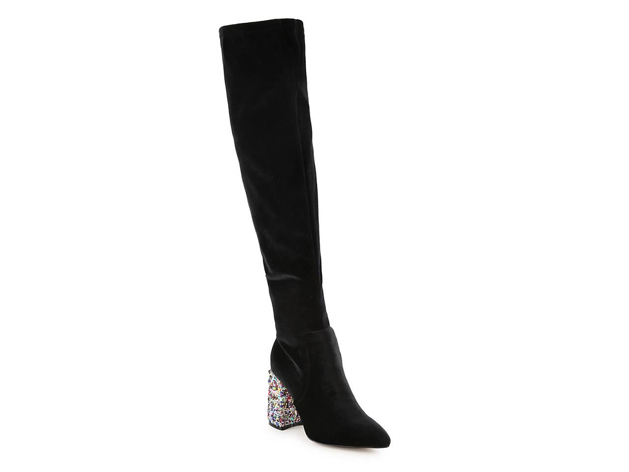 12258305622 Betsey Johnson Keeva Velvet Over The Knee Boot Women s Shoes