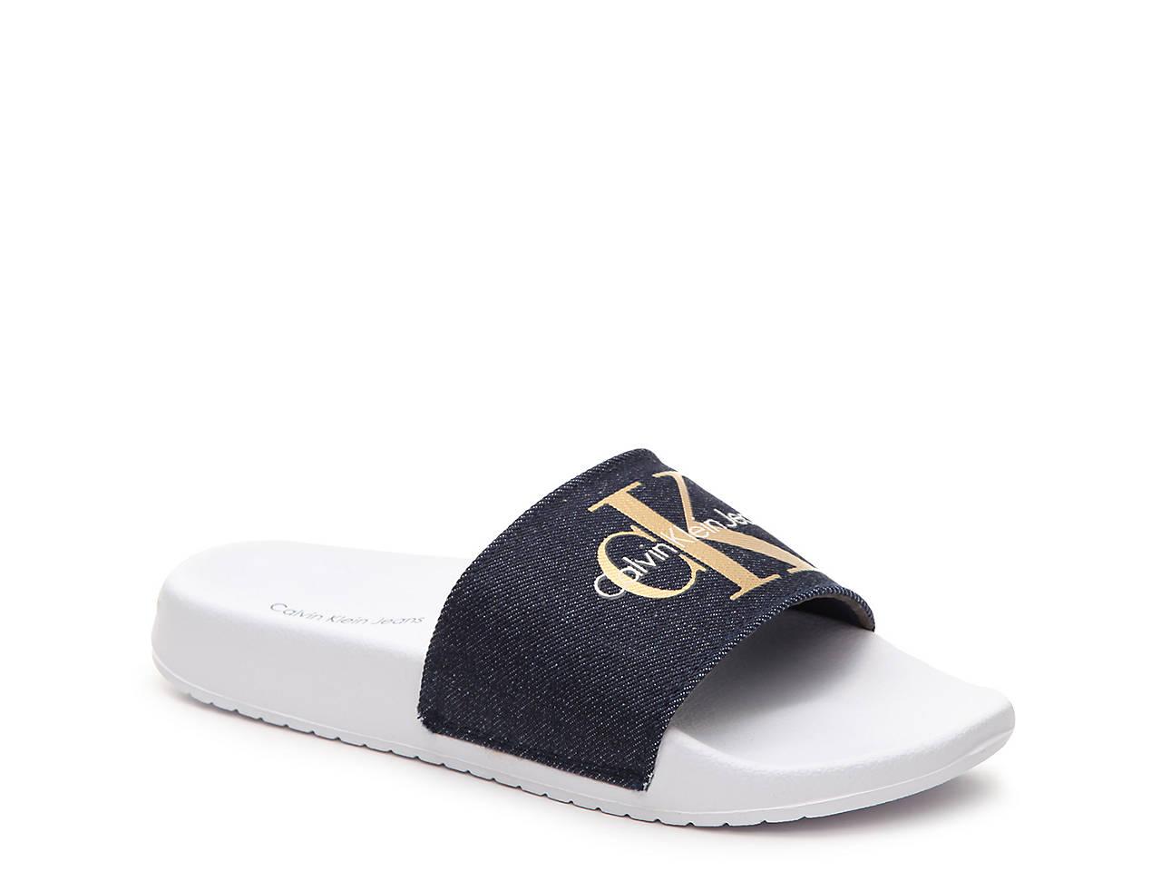 Calvin Klein Jeans Chantal Slide Sandal Women'S Shoes Dsw Calvin Klein Flip Flops Womens Shoes