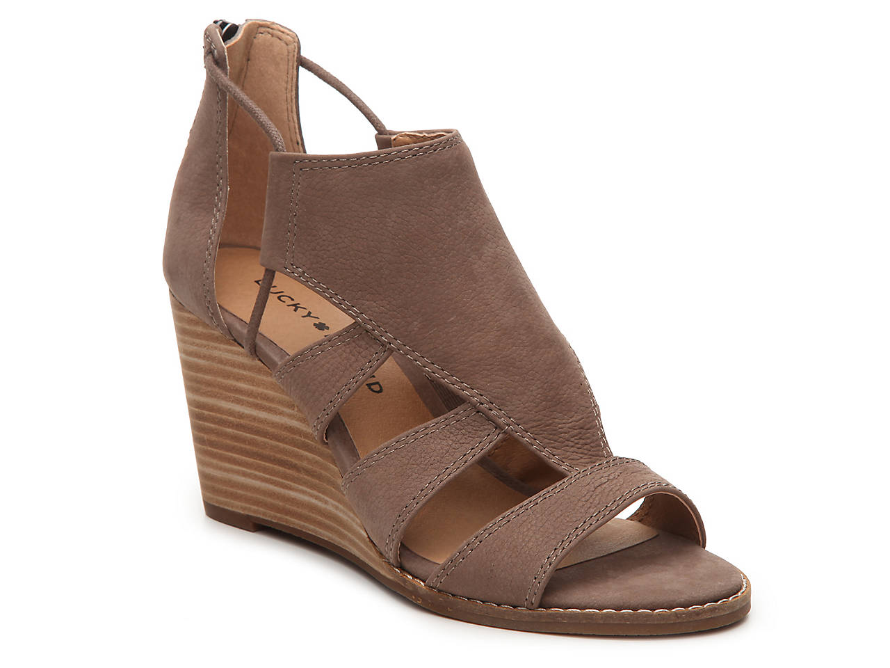Lucky Brand Joellen Wedge Sandal Womens Shoes Dsw Tendencies Sandals Footbed 2 Strap Brown 41