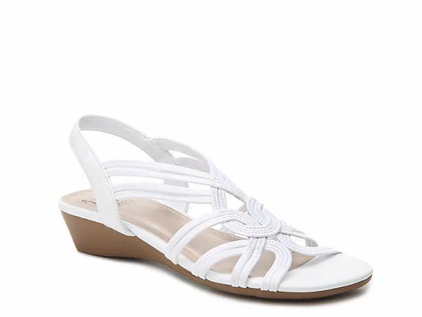 White. Ruby Wedge Sandal