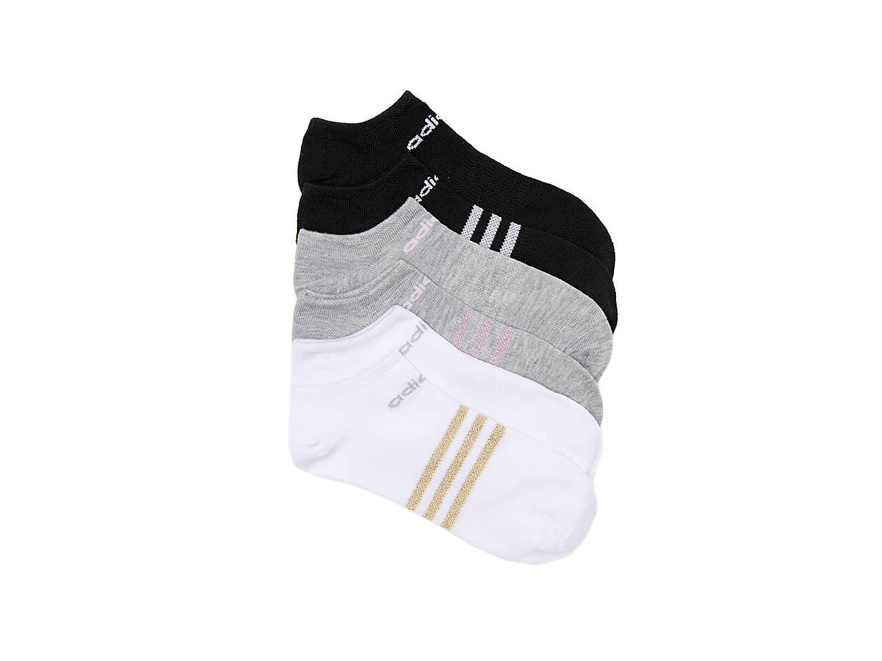 c665ee87a5a9 adidas Superlite Metallic Toddler   Youth No Show Socks - 6 Pack ...
