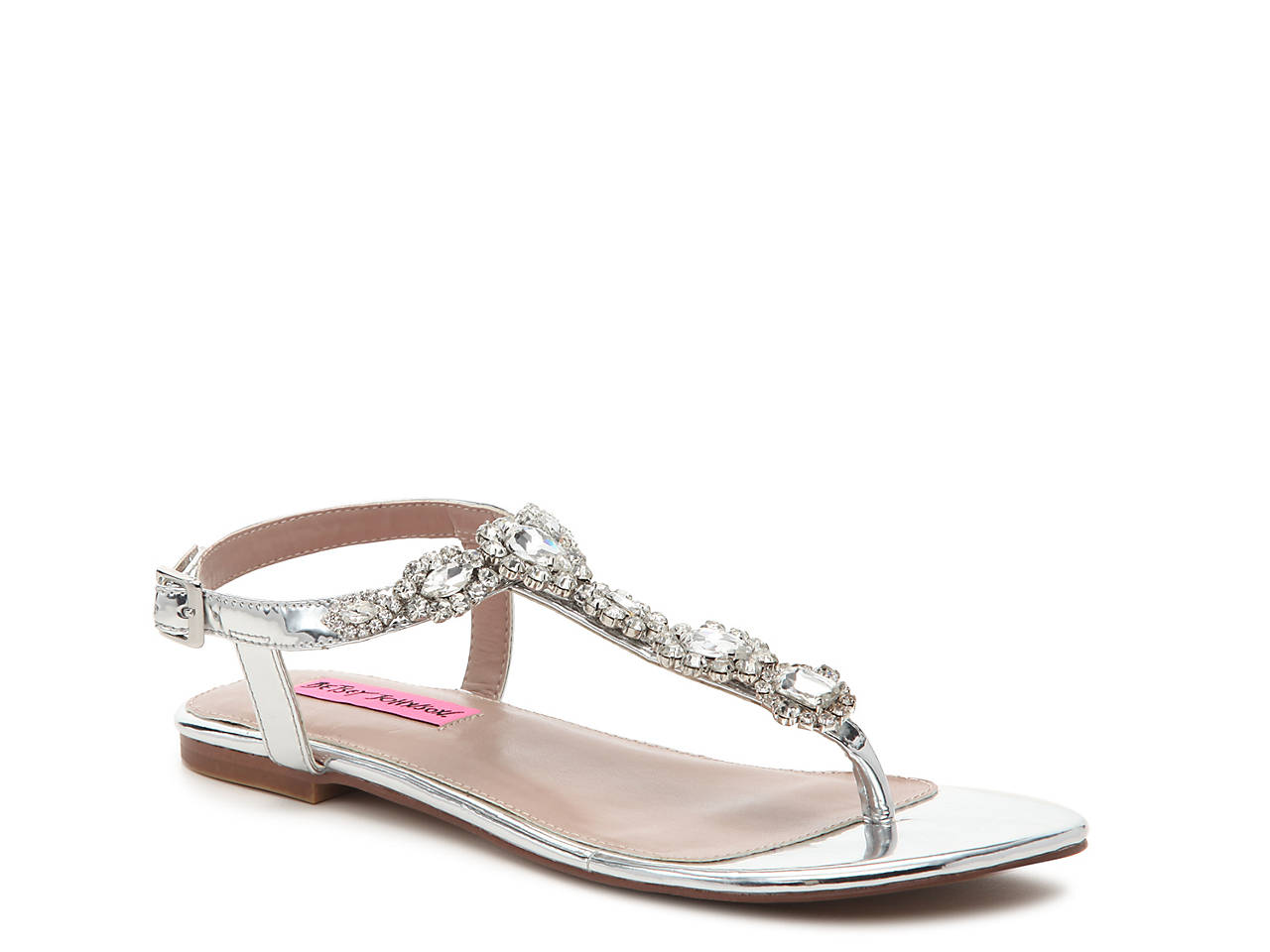 Betsey Johnson Crystal Flat Sandal Women s Shoes