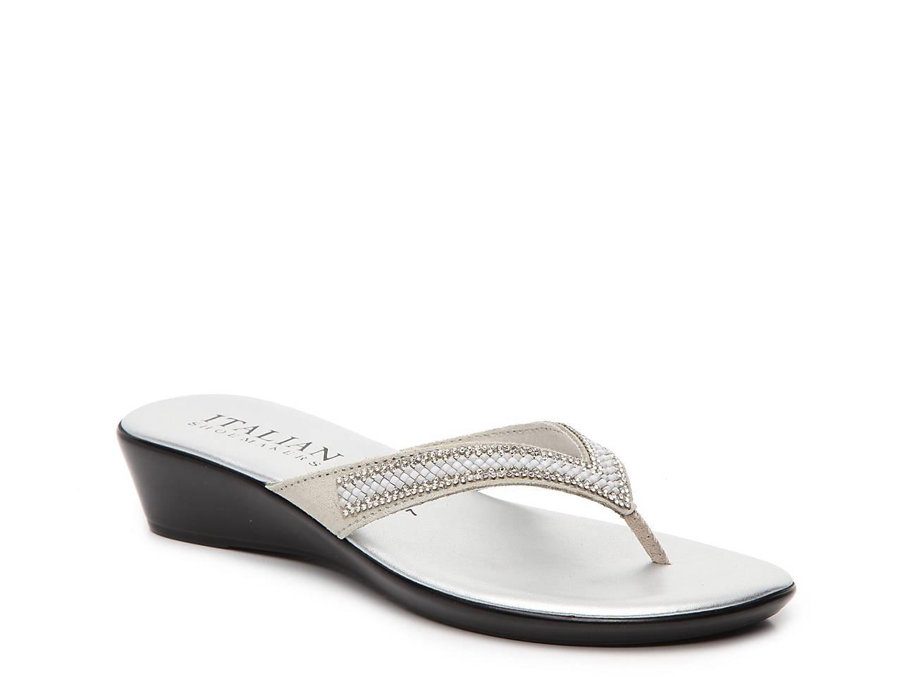 ITALIAN Shoemakers Womens Hayden Open Toe Casual Slide Sandals Silver Size 85