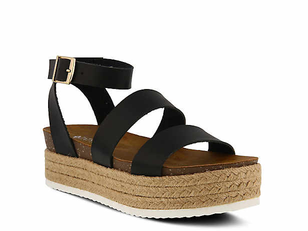 1a0e155a4f4 Ankle Strap. Black. Patrizia by Spring Step. Larissa Espadrille Platform  Sandal