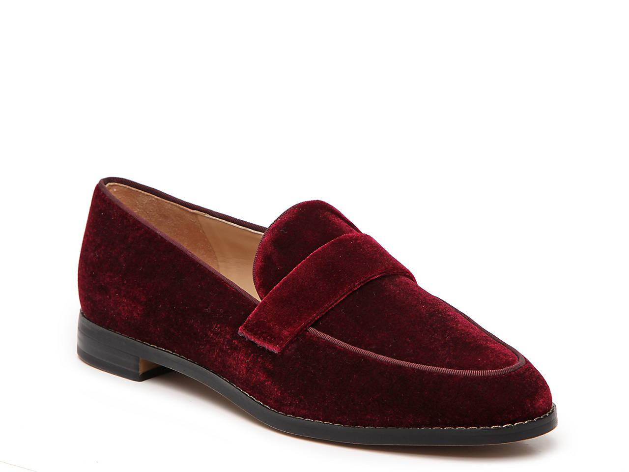 Franco Sarto Hudley Velvet Block Heel Loafers IQdvNh