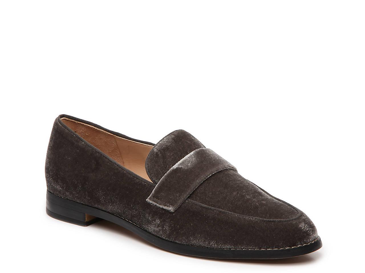 Franco Sarto Hudley Velvet Block Heel Loafers lEOsvvR