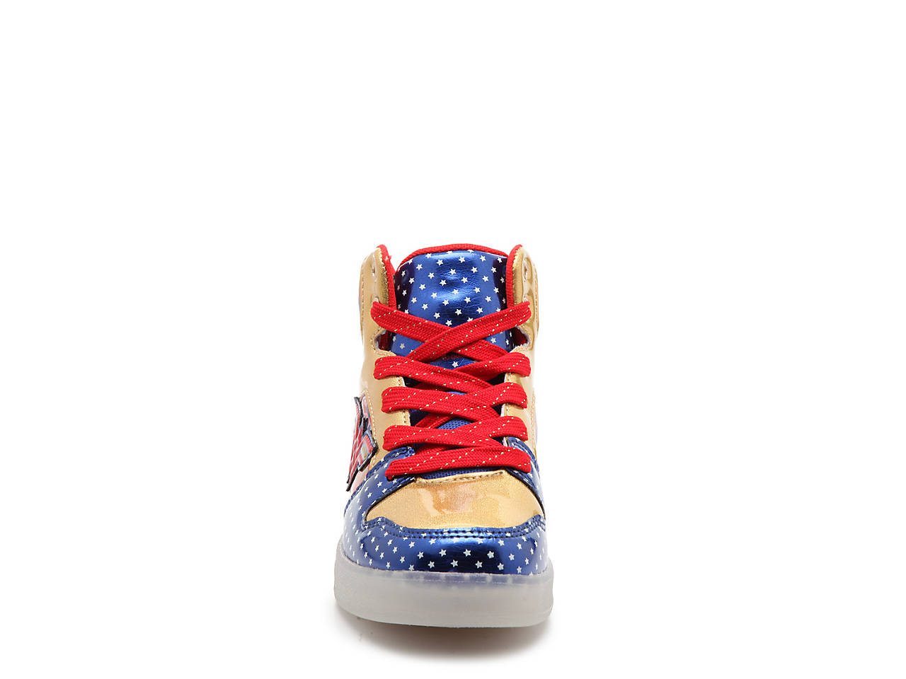6027342a6de5 Warner Bros Wonder Woman Youth Light-Up High-Top Sneaker Kids Shoes ...