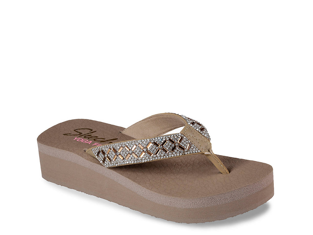 fec650250bbd Skechers Cali Vinyasa Lotus Princess Wedge Flip Flop Women s Shoes