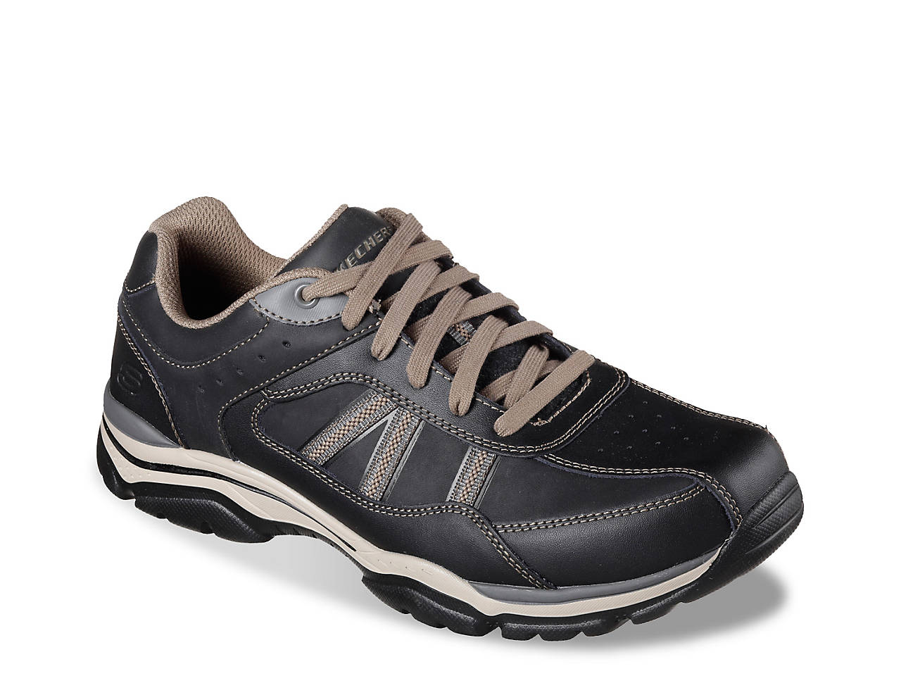 Skechers Relaxed Fit Rovato Texon Sneaker(Men's) -Black/Taupe Outlet Get To Buy Discount Really 100% Authentic Cheap Online Looking For Cheap Online Sale Discount v2P3mFp0Md