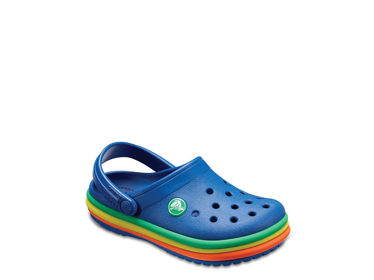 e6c6ea2aa49a4f Crocs Rainbow Band Toddler   Youth Clog Kids Shoes