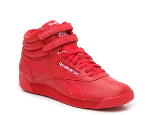 red reebok high top sneakers