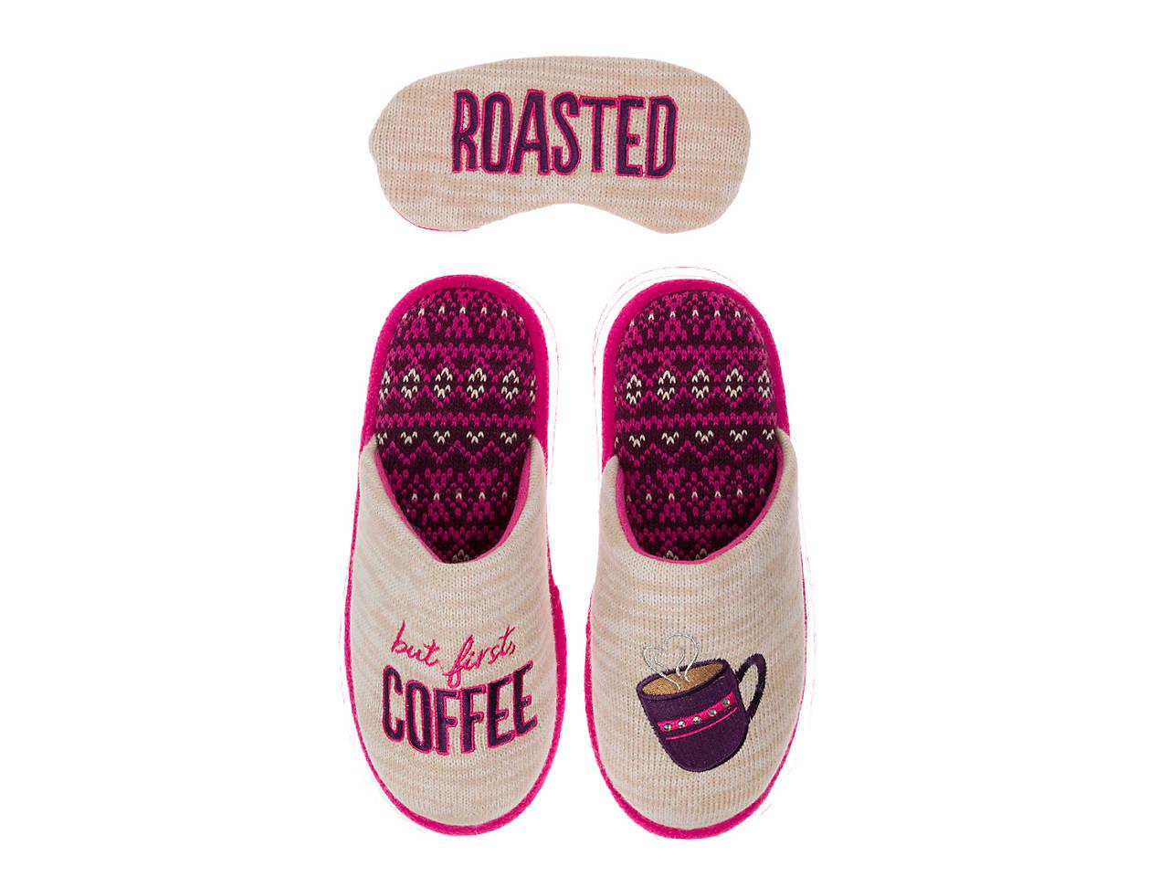 e9b5e5a8ba2 Dearfoams Coffee Scuff Slipper   Eye Mask Set Women s Shoes