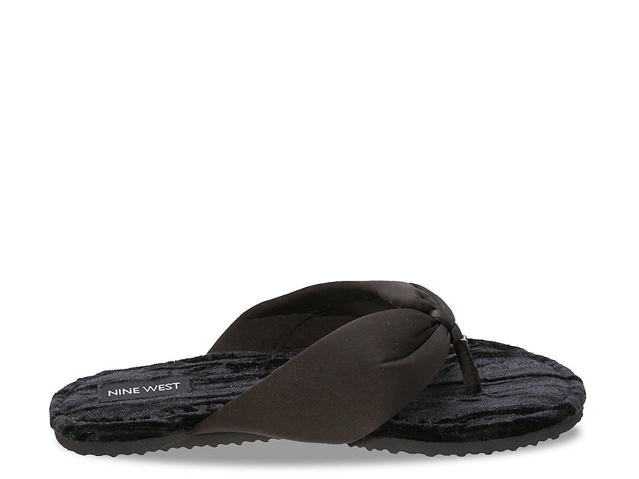 967ffa32ffd Nine West Satin   Velvet Thong Slipper Women s Shoes