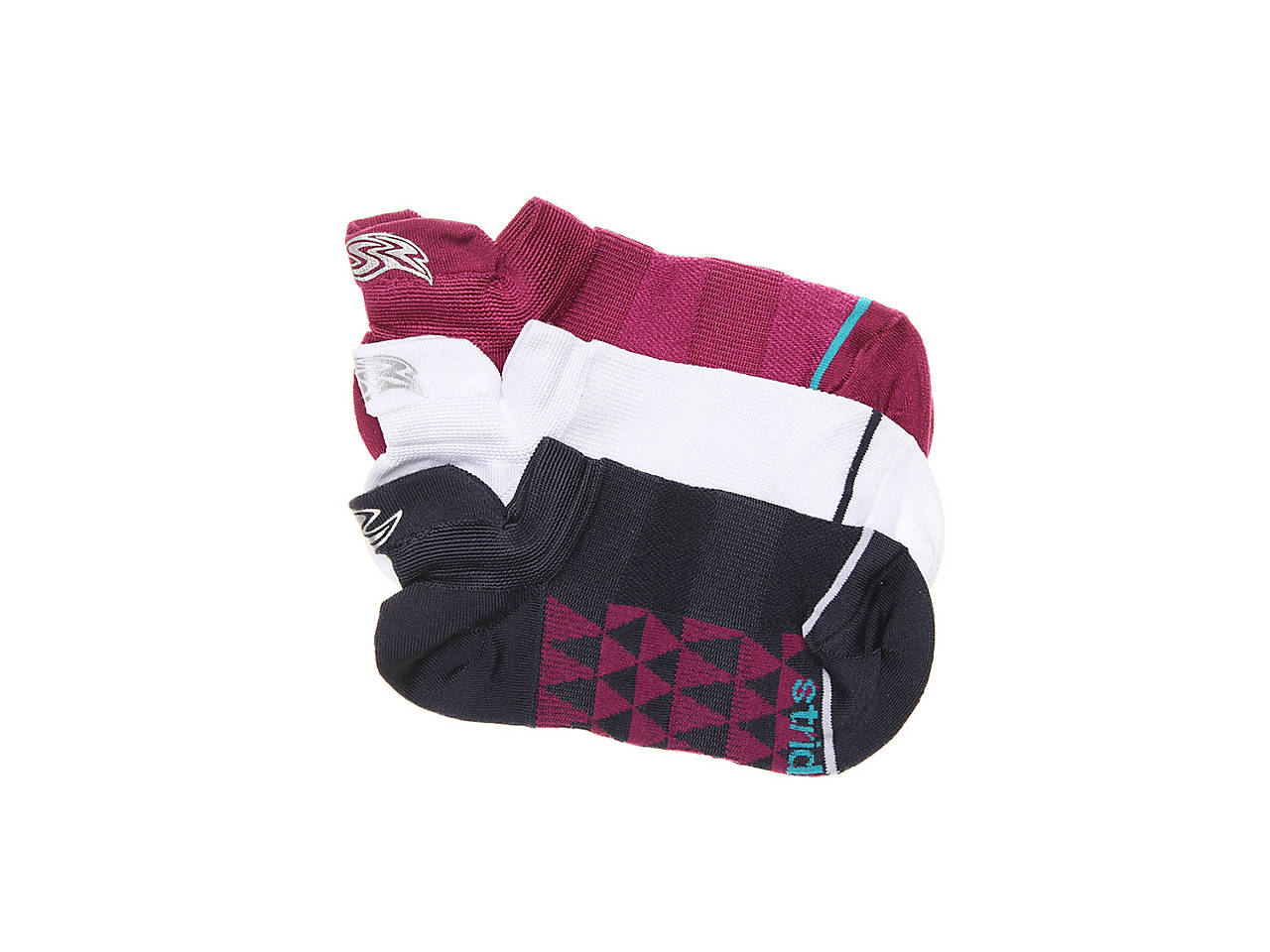 Stride Rite Made 2 Play Maya Infant Toddler Youth No Show Socks Maroon 3 Pack
