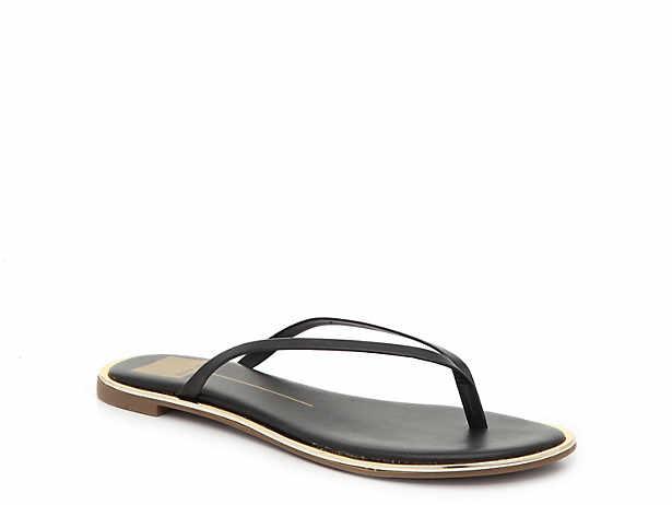 f2856cf44132 Women s Black Dolce Vita Flat Sandals