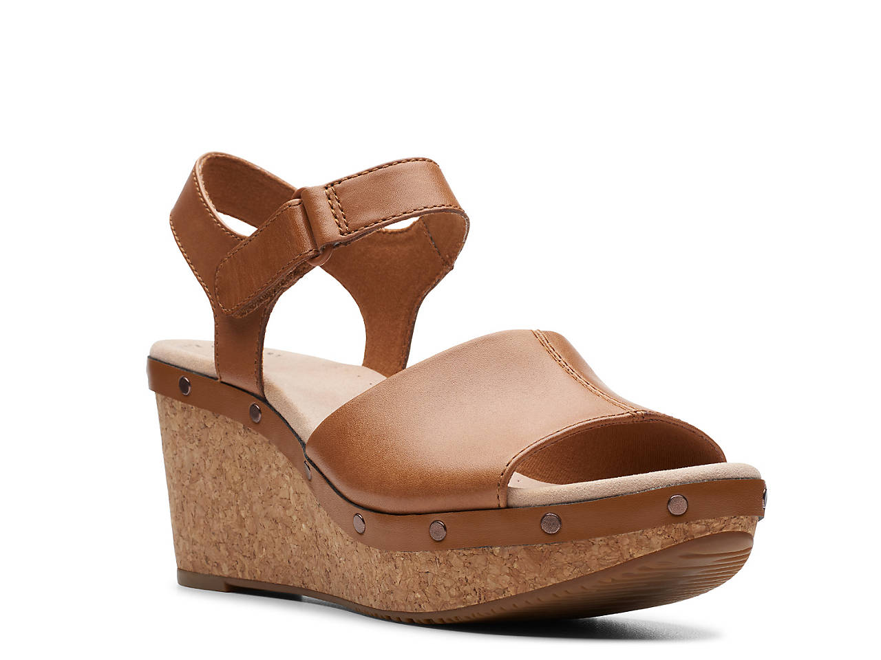 CLARKS Annadel Clover Wedge Sandals, Tan, 6 US 36 EU