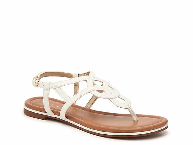 White. Flat. Sandals. Kelly   Katie